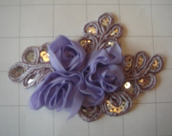 """Lavendar Flower and Sequins Braided Applique 4 1/2"""" by 3 1/4"""""""