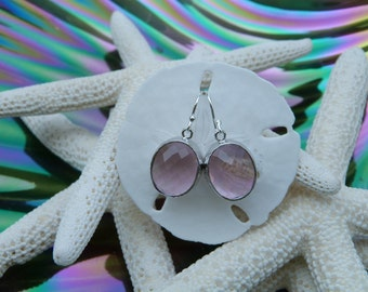 Beautiful Pink faceted Oval Glass Silver Earrings
