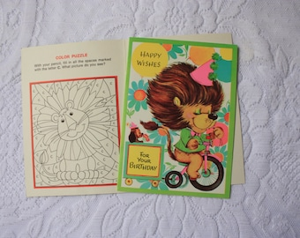 Children's Birthday Card with Color Puzzle inside - Circus Lion  Birthday card - vintage lion  card - vintage circus birthday card