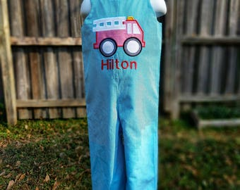 Firetruck Romper or Longall with Name