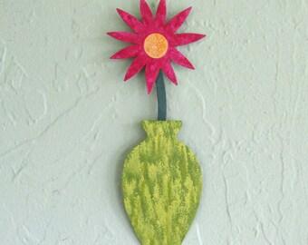 Metal Wall Art Flower Recycled Metal Mini Flower Vase Pink Lime Green Metal Art Sculpture Wall Hanging Colorful Flowers 3 x 9