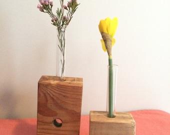 Single stem reclaimed wood bud vase