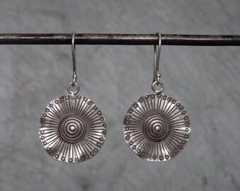 Silver Drop Earrings, Silver Flower Earrings, Hill Tribe Earrings, Nature Jewellery, Lily Pad Earrings, Sterling Silver