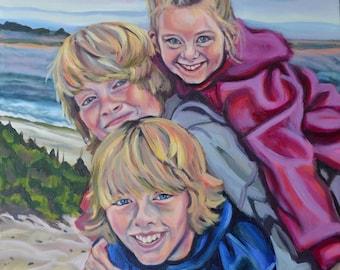 20x16 oil portrait 3 figures