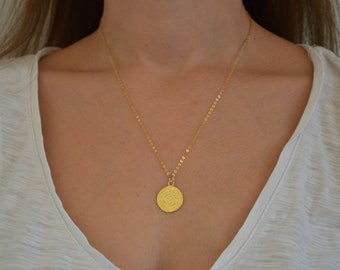 Gold Necklace, Gold Disc Necklace, Disc Pendant, Disc Jewelry, Ancient Disc Necklace, Gift for Her, Made from Sterling Silver 925, in Greece