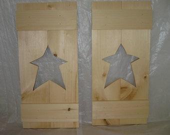 "Handmade Primitive Star Shutters 24"" X 11"" X 2"" Thick - Set of 2"