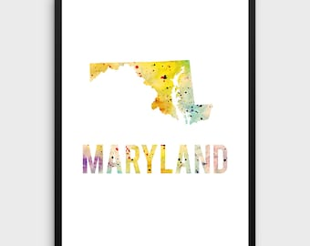 Watercolor Maryland Printable Poster | Maryland Poster, Maryland Art Print, Maryland State Art, Watercolor Art, State Art