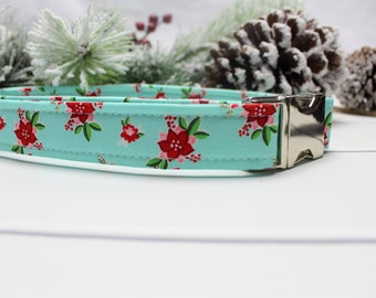 Poinsettia in Blue Dog Collar | Your choice of metal buckle or plastic buckle | Holiday Dog Collar | Winter Dog Collar
