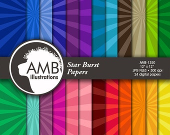 Star burst Digital Papers, Star Pattern, Color on color backgrounds, scrapbook papers for invites and crafts, commercial use, AMB-1350