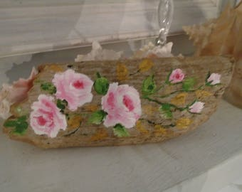 Pink Roses on Driftwood Beautiful Roses Hand Painted on an Amazing Piece of  Driftwood from Moonstone Beach!