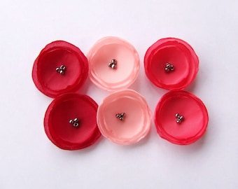 Fabric Flowers 1 inch Flower Appliques Flowers in red pink hot pink