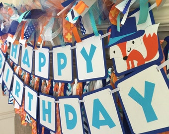 Fox Party Decorations - Fox Party Banner - Fox Birthday Decor - Fox Birthday Party - Fox Birthday Banner - Fox First Birthday - Fox Banner