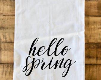 Hello Spring Flour Sack Tea Towel