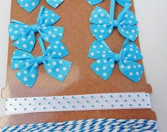 set of 6 bows and 2 x 1 meter Ribbon