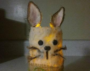 Primitive Rustic Farmhouse Grubby chunky wax Bunny Rabbit flameless 2 settings timer pillar candle-Easter, Spring Decor OOAK, customizable