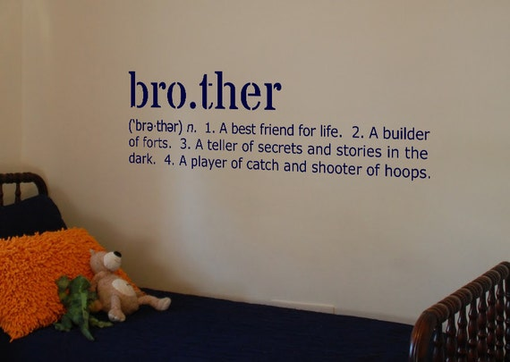 Italian Boy Name: Items Similar To Brother Definition Vinyl Wall Art Decal