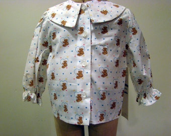 Girls Blouse with Teddy Bears and Small Blue Hearts   - Size 12 months and 18 months
