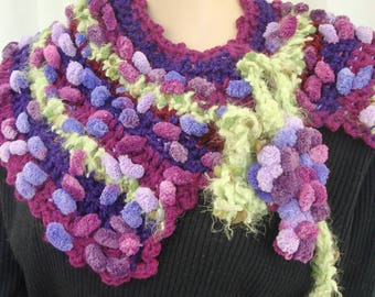 The harvest is hand made scarf crochet neck warmer purple, green