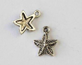12x15mm Silver Pewter Small Starfish Charm - 10 per bag