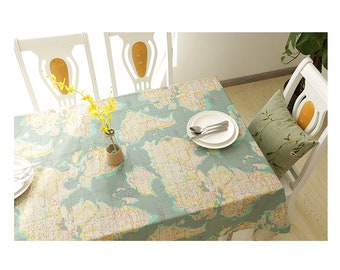 Map tablecloth etsy tablecloth world map rectangle square round oval diningpartywedding coffee table overlaycenterpiecebaby showerbirthday gift free gift gumiabroncs Choice Image