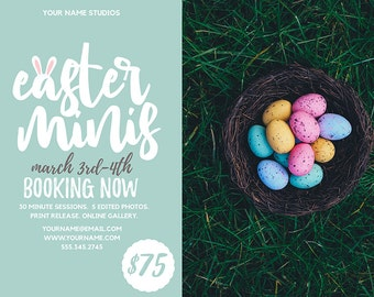 Easter Mini Session Template Bunny Ears | Photography Template | Photographer Resources | M25