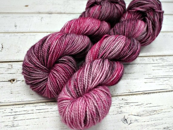 Hand Dyed Yarn Sock Yarn Superwash Wool Nylon 80/20 Fingering Weight Yarn Sock Yarn - 50 Grams - Pink Yarn Purple Yarn - Smolder Berry