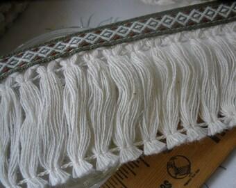 "Boho Tribal Ribbon Fringe trim 2 3/8"" wide cotton blend fringe Diamond pattern ribbon sage green brown retro BTY crafts costume Coachella"