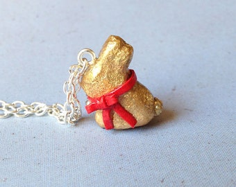 Chocolate Bunny Necklace Available on Keyring, Lapel Pin or Clasp. Easter Gift. Easter Bunny Charm. Mother's Day Necklace. Easter Egg Gift