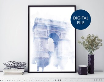 Arc de Triomphe Paris Watercolour Print Wall Art   Print At Home   Digital Download File