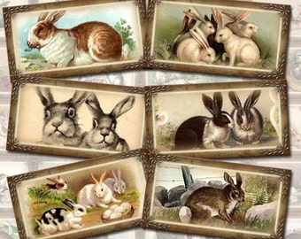 Bunny RABBITS-24 Vintage Art Mini Gift/Hang Tags/Labels -INSTaNT DoWNLOAD- Printable Collage Sheet-JPG Digital File