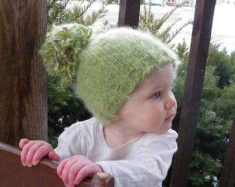 6 month Woodland Pom pom baby hat winter hat