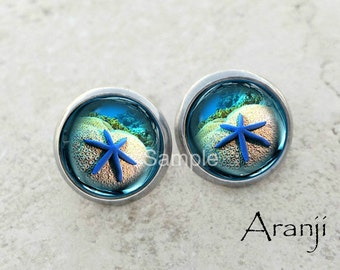 Glass dome blue starfish earrings, starfish earrings, coral reef earrings, underwater photo earrings AN152E