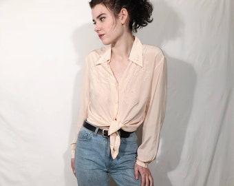 Peach Silk Blouse