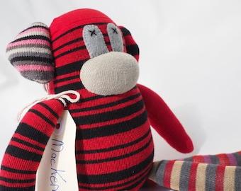 Sock monkey, soft plush toy for children. Mackenzie Monkey.