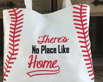 """Embroidered Baseball Tote """"There's No Place Like Home"""""""