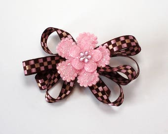Pink and Brown Checkered Hair Clip with Pink Flower