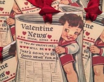 Valentine Tags, Vintage Valentine Tags,