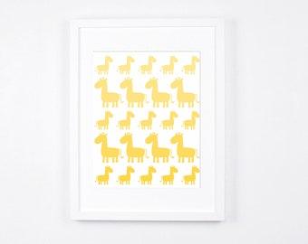 Yellow Nursery Art Printable, Safari Theme Nursery Art, Giraffe Modern Wall Art, Baby Room Decor, Yellow Ombre Art Instant Download, Minimal