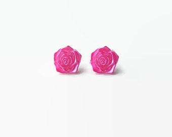 Pink metallic earrings kitsch ROSE (earring studs plastic handmade silver plated huge chique roses flower vintage wedding bright pink party)