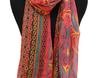 Multicolored scarf - Chiffon fabric scarf - Long scarf - Handmade scarf - Beach wrap - Summer scarves - Lightweight scarves for women -