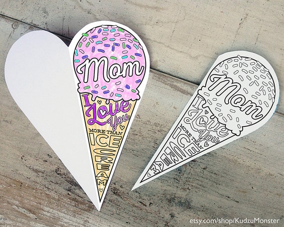 Instant Download Mother S Day Card Coloring Card Printable