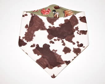 Otis' Cowhide & Cowboy Boots, Reversible Dog Bandana, Snap Closure Bandana