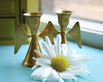 Pair Vintage Mid-Century 1960's Brass Angel Decorative Candlestick Holders (Made in India)