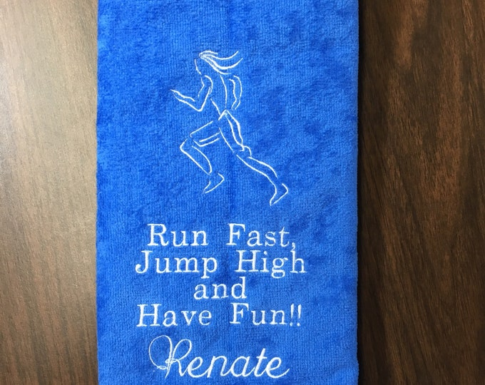 Track and field, running,  Personalized, sport towels, track, cross country, embroidered gift,