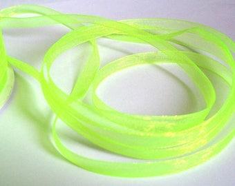 15 m 6mm neon yellow organza Ribbon