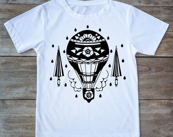 Hot air balloon shirt, retro shirt, umbrella shirt, balloons, tattoo shirt, classic tattoo art, old school shirt, hipster gift, tattoo lover