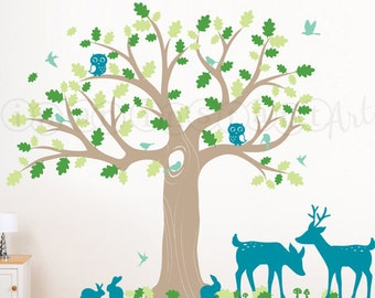 Tree Decal | Woodland Nursery Wall Decal with Owls, Deer, Birds and Large Oak Tree for Baby, Kids or Childrens Room 085