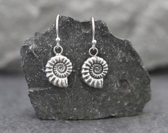 Silver Ammonite Earrings - Fossil Drop Earrings - Real Ammonite - Jurassic - Medium size ammonite