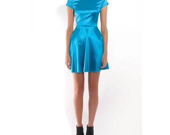 Neon Blue Satin Like Skater Skirt Style Dress With Cut Out Back