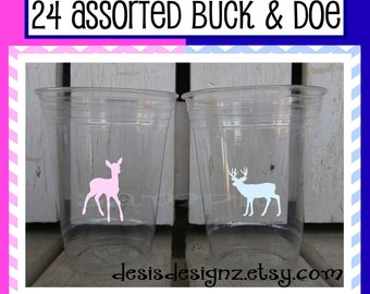 24 Gender reveal Buck and doe vinyl decals Baby shower Birthday party decorations girl boy sprinkle party vinyl cup stickers party cup decal